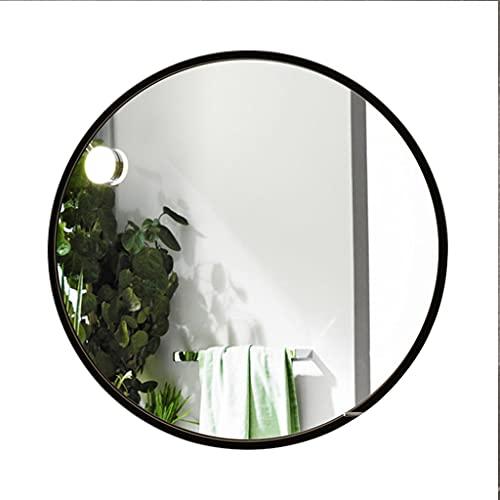 WZ Espejo Baño Pared Redondo con Marco Aluminio 50cm 60cm Espejo para Maquillarse para Pasillo Baño Sala Estar (Color : Black, Size : 50cm)
