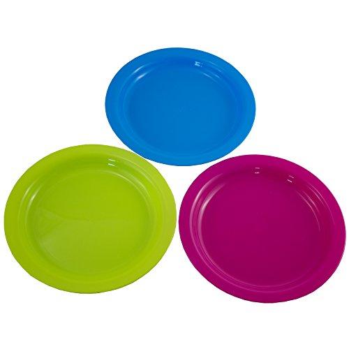 24 tlg. 36tlg. oder 12tlg. Set Teller und-oder Becher aus Kunststoff in drei Farben - Kunststoffteller Plastikteller Kunststoffbecher Plastikbecher Partybecher Partyteller Partygeschirr Mehrweg (12 x Teller)