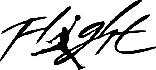 Flight Jordan Jumpman Logo Huge 23 AIR Decal Sticker for Automobile Room Car Window Tablet PC Computer Wall Laptop Notebook Ipad (5.5' inches, Black)