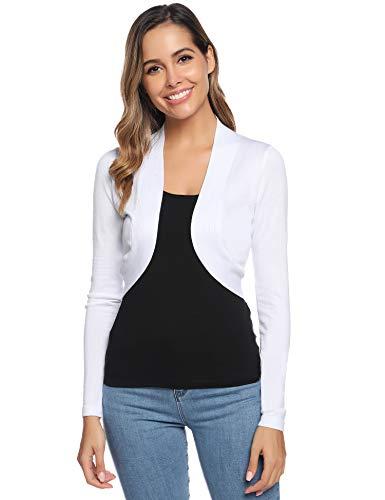 Boléro Femme Tricot Gilet Court Veste Cardigan Manches Longues Classique Elégante Jersey Chic pour Robe Soirée Vintage, Blanc, L