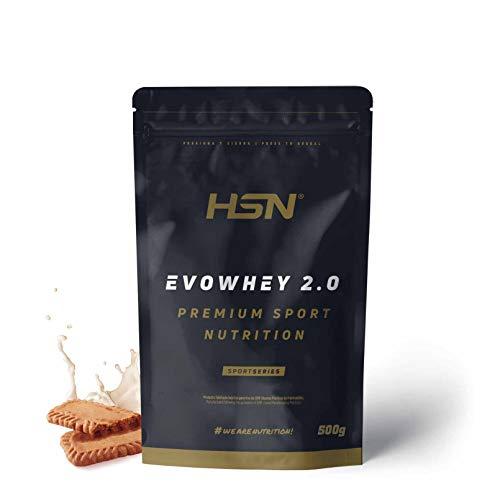 Concentrado de Proteína de Suero Evowhey Protein 2.0 de HSN | Whey Protein Concentrate| Batido de Proteínas en Polvo | Vegetariano, Sin Gluten, Sin Soja, Sabor Galleta Caramelizada, 500g