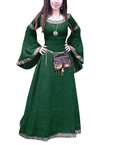 ShiFan Trajes De Fiesta Largos para Mujer Tallas Grandes Disfraz Medieval Vestidos Vintage Largos Verde 5XL