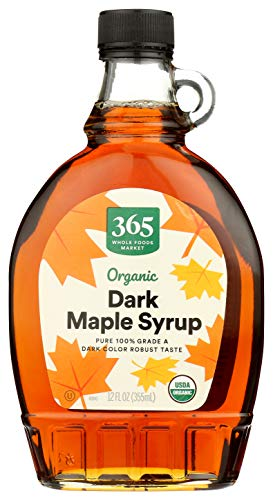 365 by Whole Foods Market, Organic Pure 100% Grade A Maple Syrup, Dark Color Robust Taste, 12 Fl Oz