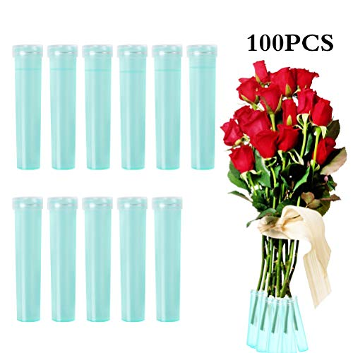 YLX Blumen Wasserröhrchen Kunststoff Blume Fläschchen Klare Blume Röhren Florist Liefert Zubehör für Blumenarrangements, 7.2cm (100 Stück)