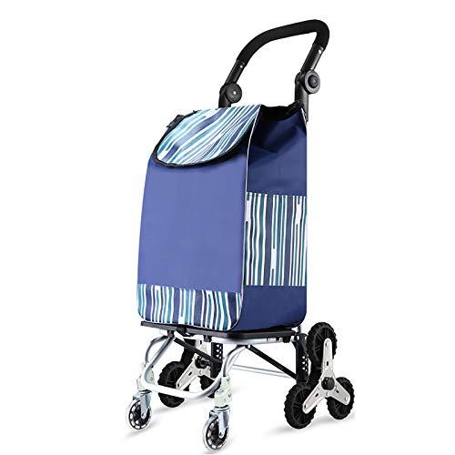 XIAOPENG Einkaufstrolleys Shopping Trolley Klappbar Klappbox mit Rollen Faltbarer Einkaufswagen, Hochleistungs-Einkaufswagen mit Gummi-Dreirad für leicht zu Kletternde Treppen
