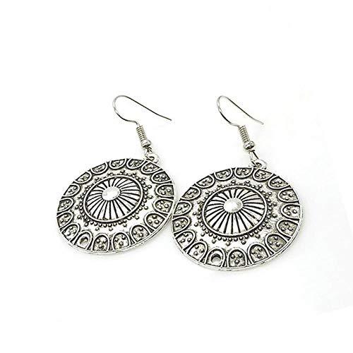 Pendientes largos de plata tibetana estilo bohemio vintage estilo étnico tallado redondo gota pendientes colgantes para mujer