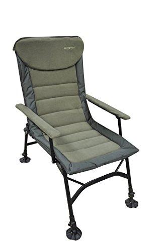 MK Kingsize Recliner, Karpfenstuhl, belastbar bis 150kg, bequemer und leichtgewichtiger Camping Stuhl, mit Armlehne und Verstellbarer Sitzhöhe (42cm bis 55cm), inkl. breiter Sitzfläche