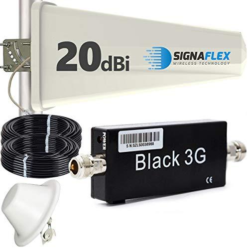 HUKITECH 3G UMTS HSDPA HSUPA Repeater Booster Verstärker für ALLE Handy Netze + leistungsstarke Panel Außenantenne + leistungsstarke Omni Innenantenne + Montagezubehör