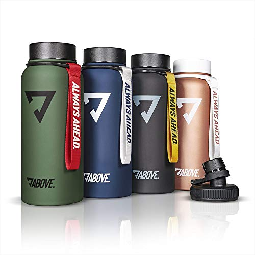 Trinkflasche Edelstahl 950ML I 2 Trinkverschlüsse I Thermosflasche Doppelwandig I BPA Frei I Kohlensäure Geeignet I Fitness, Sport, Gym (Grün)