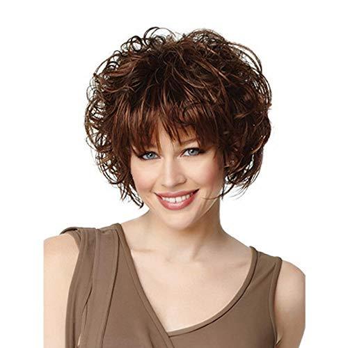 Cheveux bouclés courts et moelleux brun foncé, 30 cm, cheveux artificiels, soie haute température à fibres chimiques, perruque utilisée par les femmes pour un usage quotidien