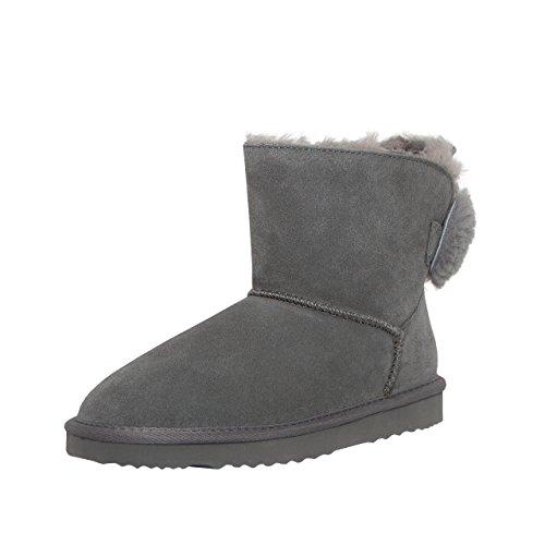 SKUTARI Wildleder Damen Frauen Winter Boots | Warm Gefüttert | Schlupf-Stiefel mit Stabiler Sohle | Schleife Pailletten Glitzer Meliert Schuhe, Grey/5027, 38 EU