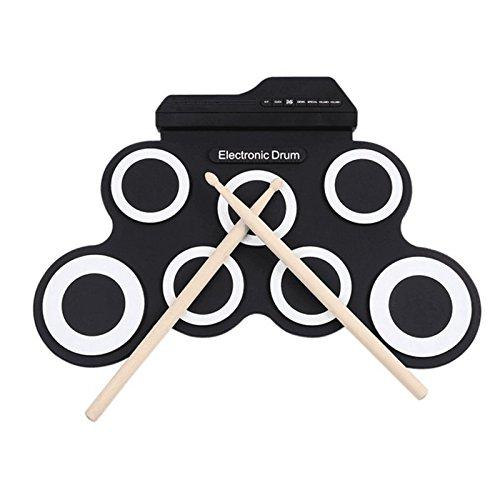 Wiiguda @ Roll up Drum Tragbares elektronisches Schlagzeug E-Drum Kit Digitales Musik-Pad-Instrument 7 Pad für Anfänger, Kinder,Schlagzeuger