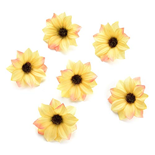 silk flowers in bulk wholesale Rose Artificial Silk Daisy Rose Flowers Wall Heads for Home Wedding Decoration DIY Wreath Accessories Craft Fake Flower 80Pcs 5cm (Yellow)