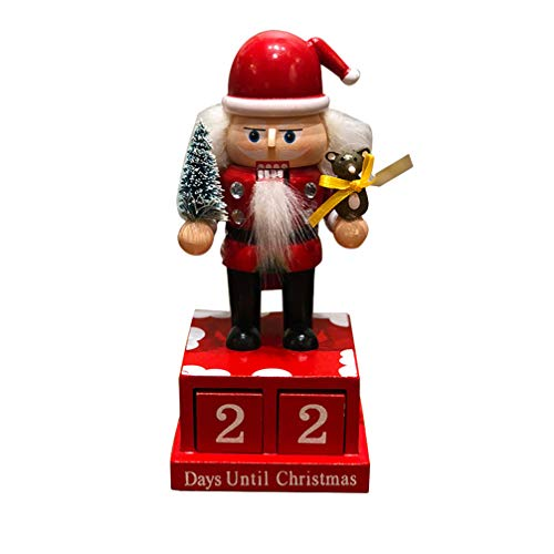 TOYANDONA 2Pcs Wooden Christmas Countdown Advent Calendar King Nutcrackers Santa Cluas Collectibles Walnut Soldier Countdown Calendar Doll Festive Holiday Decoration