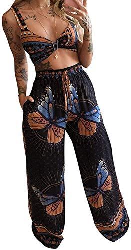 Conjunto de 2 Piezas de Trajes Largos de Verano para Mujer con Estampado de Mariposas Bohemias (Black,XL)