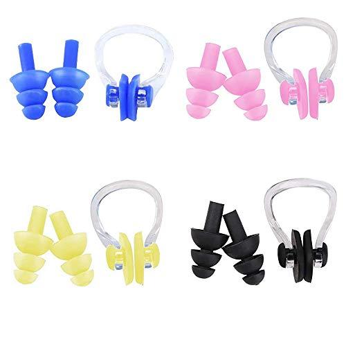 Lazz1on 4 Stück Nasenklammer und Ohrstöpsel Set für Schwimmen Wassersport Schwimmer Weiche Silikon Wasserdichter Schutz Nasenclip für Kinder und Erwachsene
