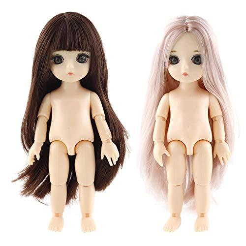 perfeclan 1/12 Flexible Gelenk 13 Gelenke Nackte Frauenkörper 16cm Puppe Mit 3D Großen Augen Und Perücke Für DIY Kugelgelenkpuppen, 2er Set