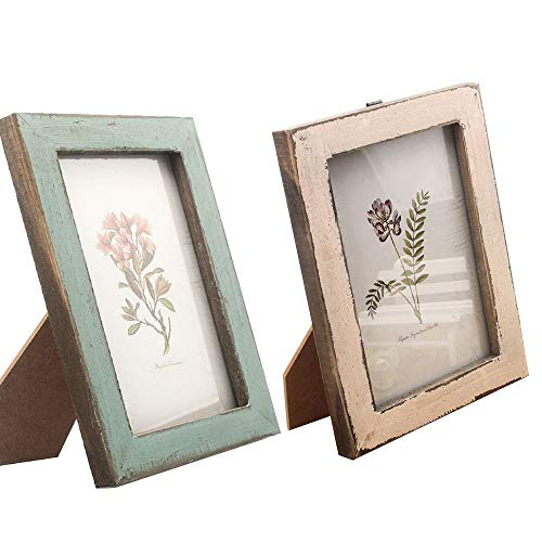HPiano 2PCS Bilderrahmen/Fotorahmen Holz Vintage Foto DIY Kreativ Bilder Rahmen, Abgenutzter-Holzeffekt Rahmen Mit Glasfenster,Retro 6