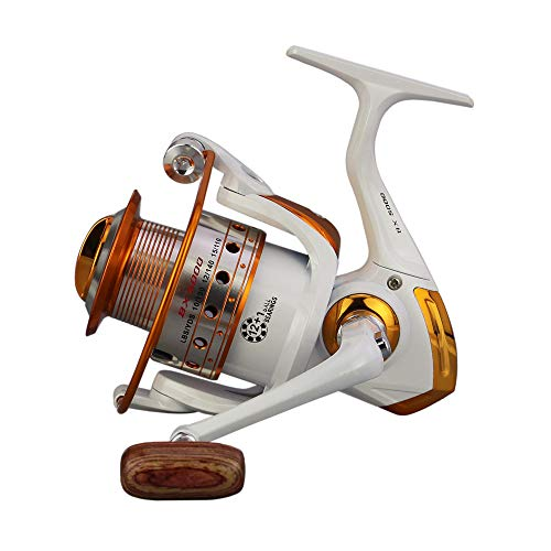 Spinning Fishing Reel Light Weight Super Smooth Powerful Size 500 Suitable for Ultralight/Ice Fishing.Freshwater Saltwater (AX-500-White)