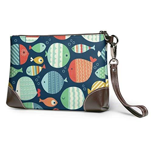 BFDX Geldbörsen Clutch Phone Wallets Fischleder Small Wristlet Geldbörsen Handtasche