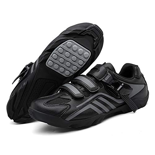 MILECN Zapatos de Ciclismo de Hombres Zapatos de Bicicleta de Microfibra Transpirables Zapatos de Bicicleta de Carretera,Negro,38