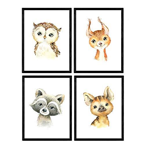 Pack de cuatro láminas con ilustraciones de animales. Posters con imágenes infantiles de animales. Hiena ciervo buho y mofeta. Tamaño A4 sin marco…