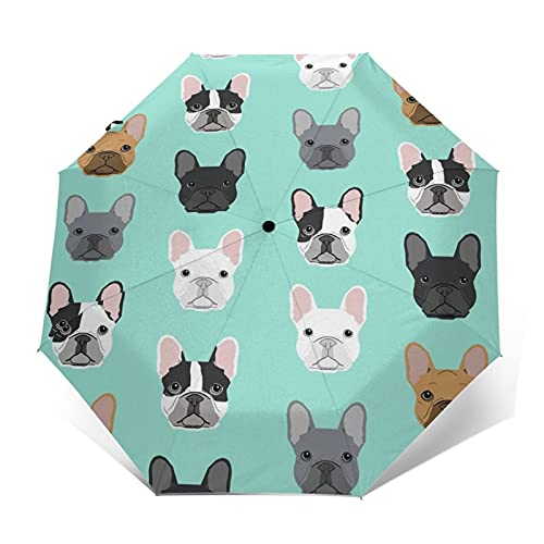 Lightweight and Foldable Art Print Umbrella French Bulldog Sweet Dog Puppy Puppies Dog, Windproof UV Protection Sun Rain Umbrella Automatically Open and Close for Women and Men