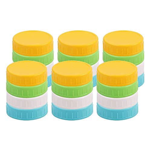 Katigan Paquete de 24 Colores Surtidos de Plástico de Boca Ancha Tapas Tarros de Albaail Tapas Antideslizantes de Almacenamiento de Alimentos para Tarros de Bolas de Conservas de Albaail