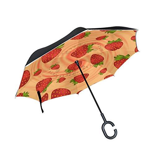 Paraguas invertido de Doble Capa, a Prueba de Viento, para Exteriores, para Lluvia, Sol, para Coche, con Mango en Forma de C, con Mango en Forma de C, Fresa y Crema