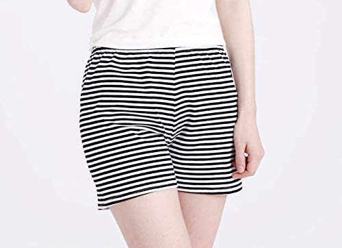 YFDYG Short Femme,Black Stripesbreathable Beach Shorts Summer Ladies Casual High Waist Shorts Solid Color Sleep Pants Bottoms Pants Girl Street Trousers,L