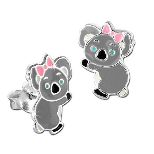 Teenie-Weenie D3SDO8197X - Orecchini a perno per bambini, in argento 925, diversi motivi e Argento, colore: Koala Rosa Grau, cod. D3SDO8162K