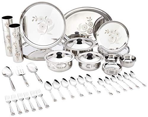 Amazon Brand - Solimo Stainless Steel Dinnerware Set, 61 Pieces