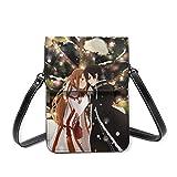 LNLN Monedero pequeño para teléfono Celular Anime Sword Art Online Lightweight Leather Phone Purse, Women Multicolor Handbag Small Crossbody Bag Mini Cell Phone Pouch Shoulder Bag.with Adjustable Str