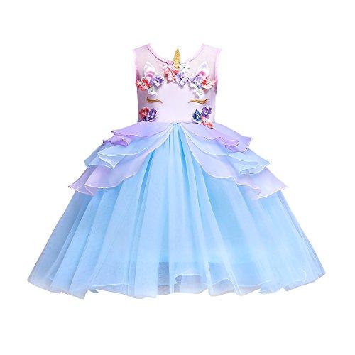 iiniim Licorne Robe de Fantaisie Princesse Baptême Cérémonie Arc-en-Ciel Bébé Fille Organza Fleurs Magnifique Plisée Tutu Robe Danse Halloween Carnaval Cosplay Costume Bleu Ciel 7-8 Ans
