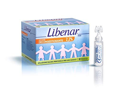 Libenar Iper Flaconcini Soluzione Fisiologica Salina, Ipertonica Decongestionante per Liberare e Detergere il Naso di Bambini e Neonati - 30 Flaconcini da 5 ml