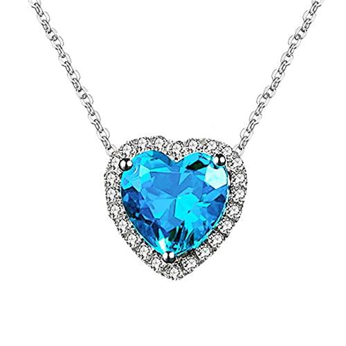 CHENLING Corazón Lindo Aguamarina Piedras Preciosas Azul Anillos Collares Pendientes Joyería Conjuntos Para Mujeres Diamante 18k Oro Blanco Color Plata