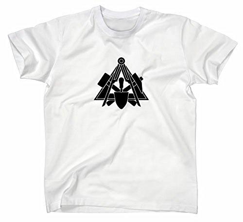 Maurer Handwerk Zunft Logo T-Shirt, L, Weiss