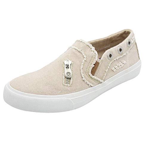 TIFIY Sandalen Damen, Frauen Erbsen Schuhe Flach Mit Bunten Hausschuhe Einzelne Schuhe Reißverschluss Strandschuhe(Beige,EU 40)