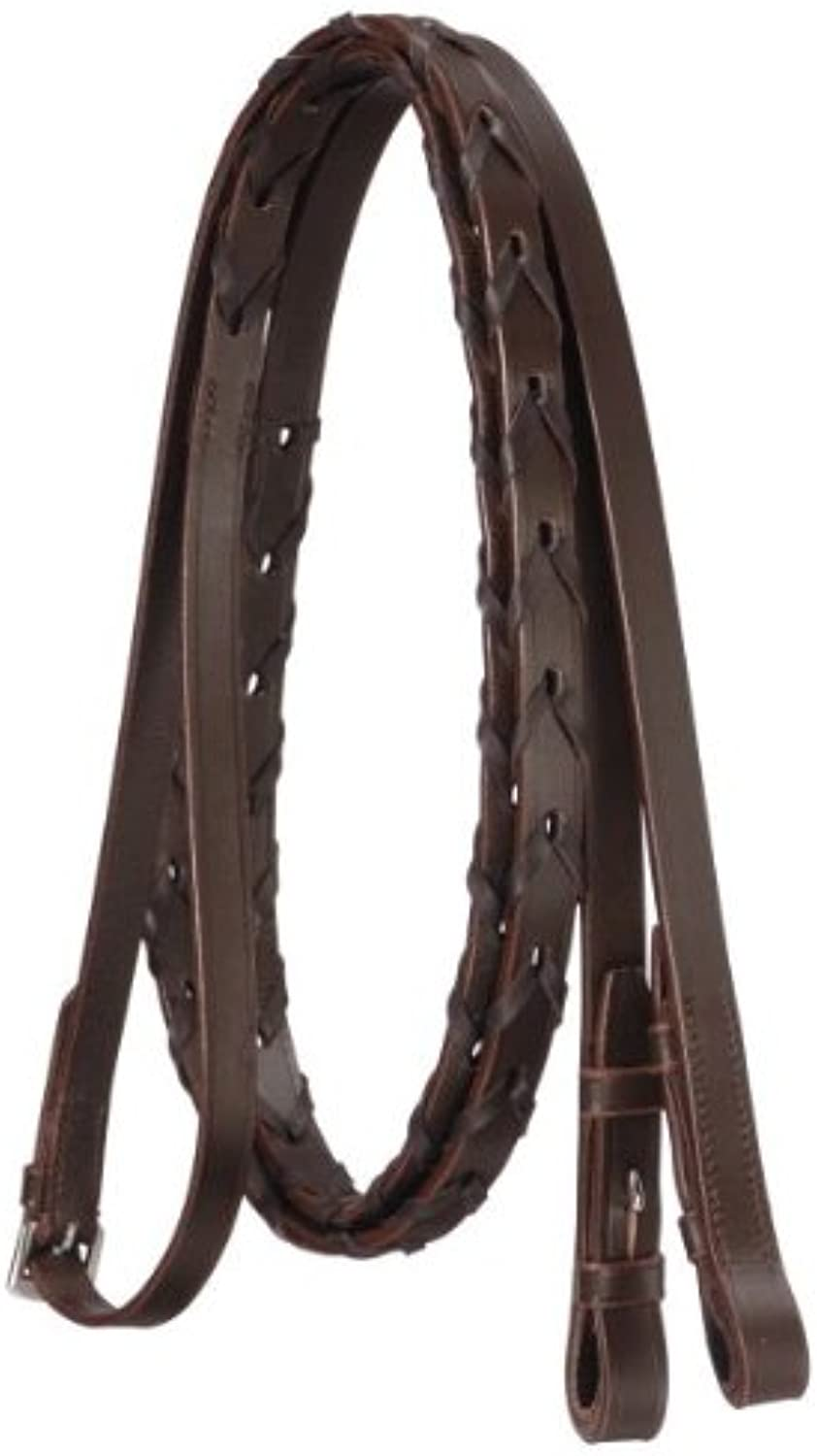 High Quality English Leather Laced Full Size Reins In Havana (brown), 5 8  Wide