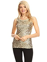 Champagne Sequin Sleeveless Round Neck Tank Top