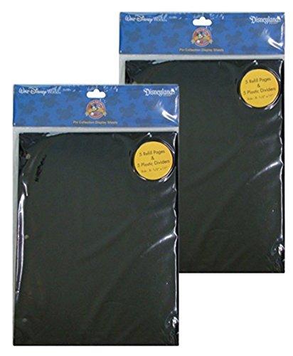 Disney Parks Bundle of 2 - Disney World Parks Exclusive Pin Trading 3-Ring Binder Album Black Refill & Divider Pages