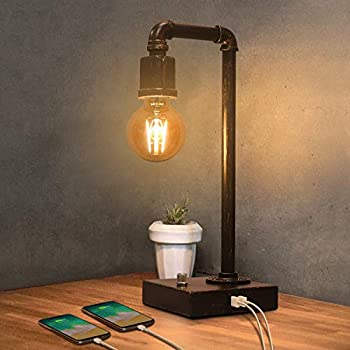 Industrial Table Lamp Vintage Bedside Lamp with USB Charging Port Dimmable Steampunk Office Lamp Metal Pipe Edison Reading Lamp for Bedroom Coffee Dorm Farmhouse Decor G25 6W LED Bulb Included