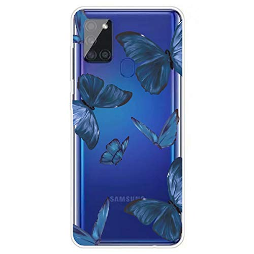 Miagon Transparent Hülle für Samsung Galaxy A21S,Blau Schmetterling Muster Kreativ Süße Durchsichtig Klar Soft Ultra Dünn Silikon Case Cover Schutzabdeckung
