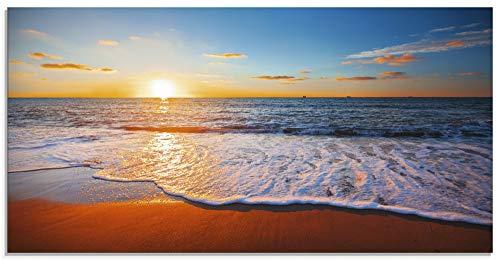 Artland Küchenrückwand Glas mit Motiv Spritzschutz Küche 100x50 cm Natur Strand Urlaub Meer Sand Himmel Wellen Sonnenuntergang Sonne maritim S7LE