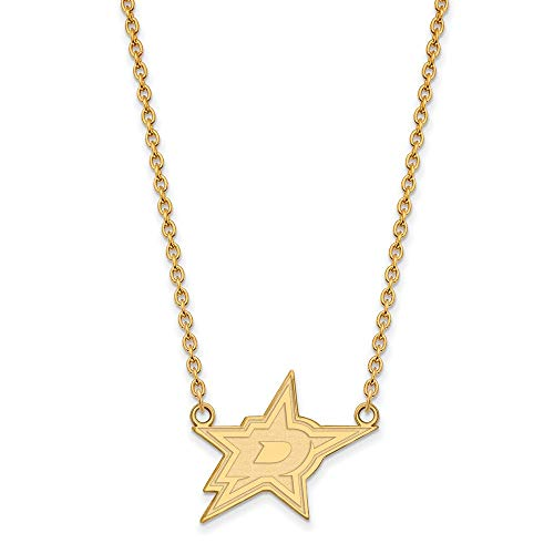 LogoArt SS 14k Yellow Gold Plated NHL Dallas Stars Large Necklace, 18 Inch