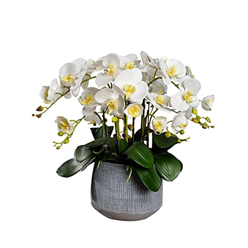 ADSE Flor Falsa Artificial Phalaenopsis Florero Falso en Maceta Decoración de Sala de Estar Interior Flor