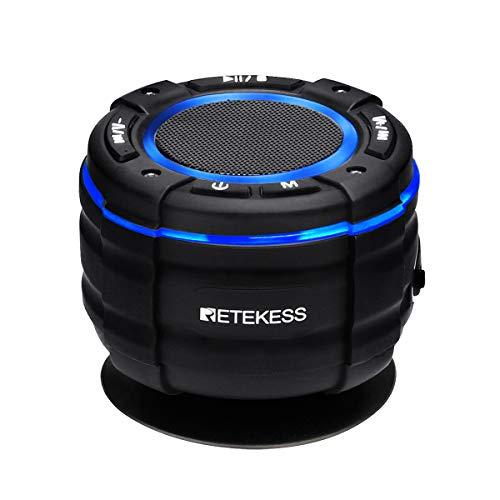 Retekess TR622 Radio de Ducha Bluetooth, Altavoz Impermeable IP67, Anti-Polvo Altavoz Bluetooth Inalámbrico 5.0 Portátil, Radio FM, Estéreo, Espectáculo de Luces, para Fiestas, Piscina, Playa, Viajes
