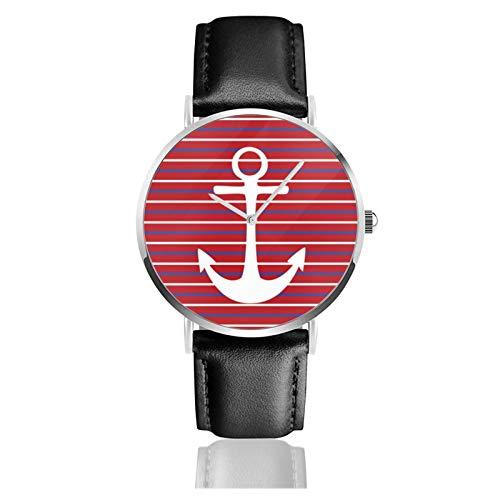Reloj de pulsera minimalista para mujer, reloj de pulsera de cuarzo, rojo, blanco, azul, rayas de ancla, correa de cuero