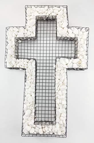 Gartenwelt Riegelsberger Kreuzgitter mit ZIERKIES Carrara weiß Grabschmuck für Allerheiligen Allerseelen oder das Totenfest Grabdeko Grabgestaltung Blumentopf
