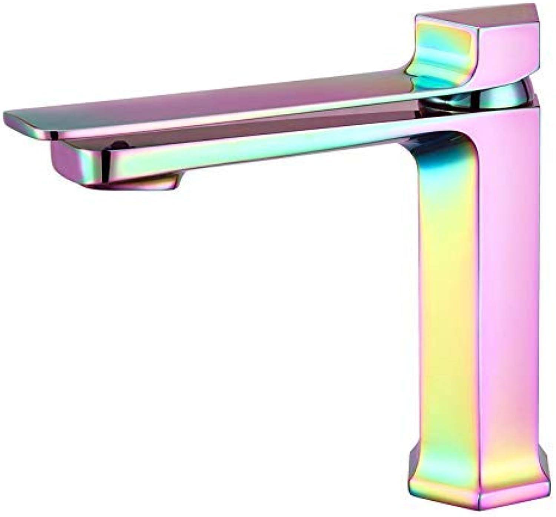 MARCU Home Wasserhhne Bunte Farbverlauf Wasserhahn  Hexagonal Kupfer Warmes und kaltes Wasser Wasserhahn über Gegenbecken Wasserhahn Farbe Wasserhahn